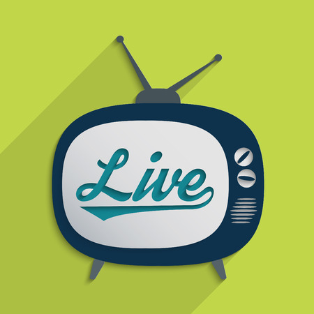 livestream: Concept for mass media, global village, information technology and livestream. Flat design illustration. Stock Photo
