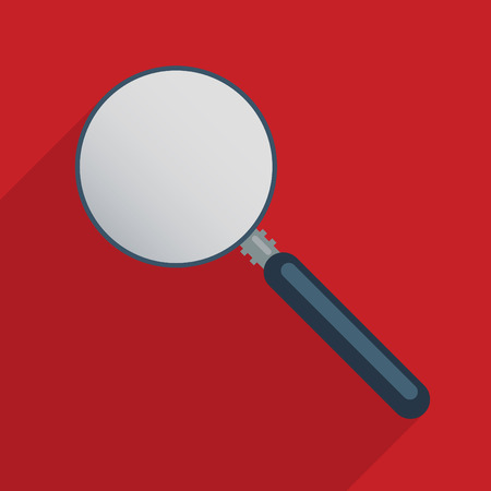 criminology: Magnifier - blank template  Concept for finding solutions, problem solving and exploration  Flat design illustration