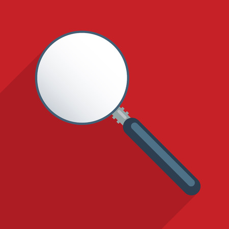 finding: Magnifier - blank template. Concept for finding solutions, problem solving and exploration. Flat design illustration. Illustration