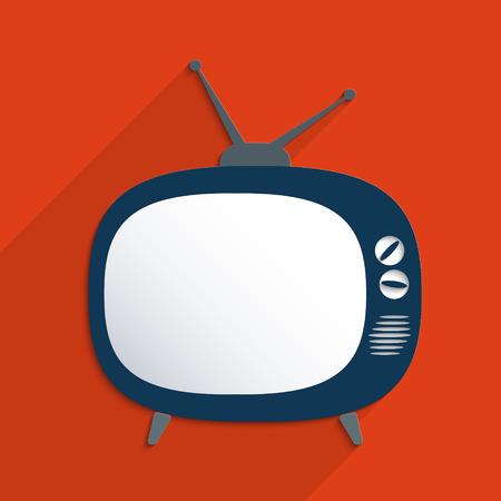 television aerial: Retro TV blank template. Flat design illustration. Illustration
