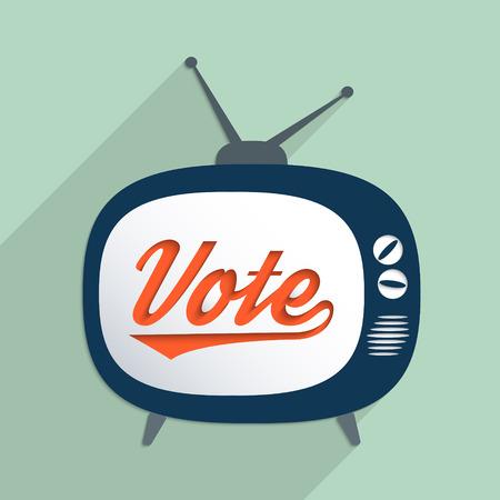 投票権、政治システム、マスメディアおよび真実の操作の概念。平らな設計図。  イラスト・ベクター素材
