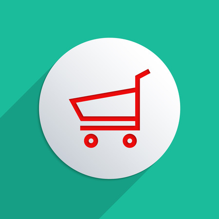 Concept for e-commerce. Flat design illustration. To add shadow to symbol, please activate the layer!