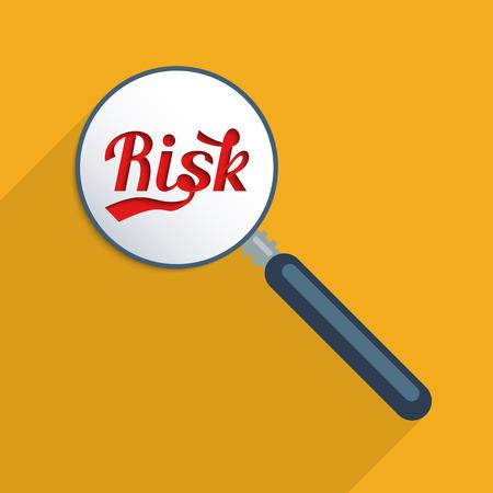 risico analyse: Concept voor risicoanalyse en risicobeheer. Platte ontwerp illustratie. Om schaduw toevoegen aan tekst, activeer de laag!