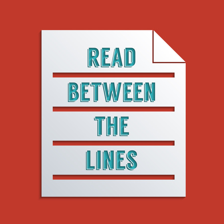 ambiguity: Concept for reading between the lines. Flat design illustration. To add shadow to text and object, please activate the layer! Illustration