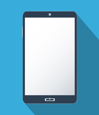 Smartphone with blank screen. Flat design illustration. Stock Photo
