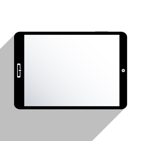 Tablet isolated on white, with blank screen. Flat design illustration.