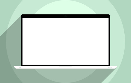 Laptop with blank screen. Flat design illustration.