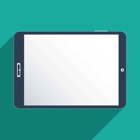 Tablet with blank screen. Flat design illustration.