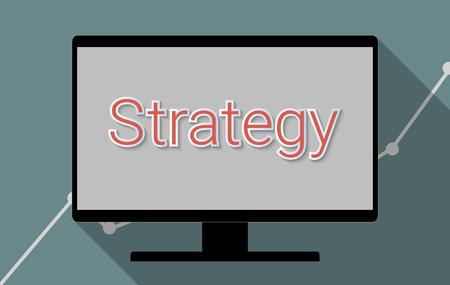 pensamiento estrategico: Concepto de ideas de éxito, la planificación empresarial y el pensamiento estratégico. Ilustración Diseño plano.