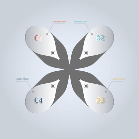 Modern origami style infographics element.  Illustration