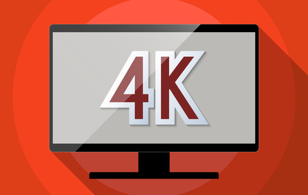 high definition television: Concept for Ultra high definition television (UHDTV), 4K resolution and High tech revolution. Flat design illustration. Stock Photo