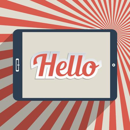 """globális kommunikációs: Vintage háttér szó """"Hello"""". Koncepció a szociális háló, a közösségi média és a globális kommunikáció. Lapos kialakítás illusztráció."""