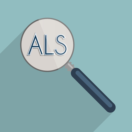 als: Concept for ALS - Amyotrophic lateral sclerosis, ideas that work, charity and how important is to encourage donations for research. Flat design illustration.