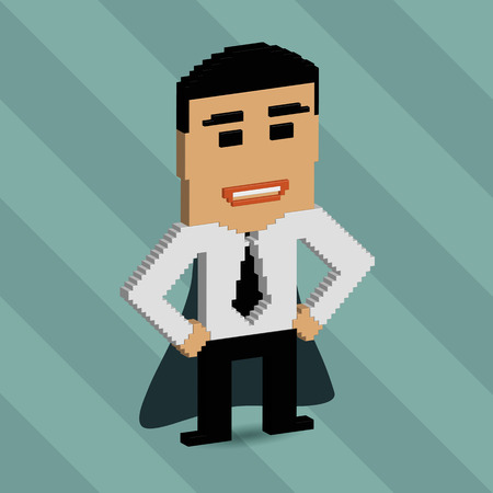 Concept for successful people and successful business ideas. 3d pixel art with flat design elements. photo