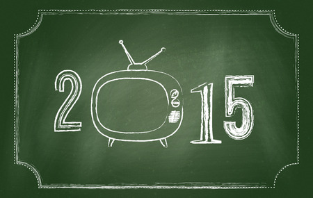 2015 Happy New Year background. Chalkboard design. photo