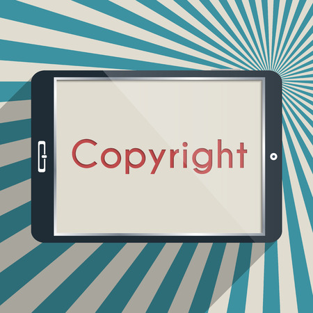 plagiarism: Concept for protection of intellectual property and copyright. Flat design illustration.