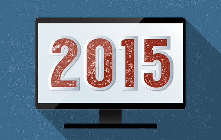 2015 Happy New Year background. Flat design illustration. illustration