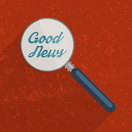 disinformation: Searching for the Good News concept. Flat design illustration.