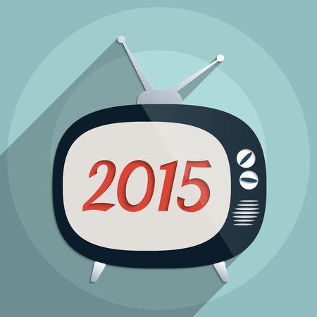 prioridades: 2015 Feliz A�o Nuevo de fondo. Ilustraci�n Dise�o plano. Vectores
