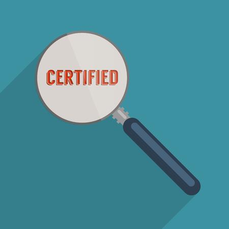 zertifizierung: Konzept f�r das Qualit�tsmanagement und Zertifizierung. Wohnung, Design, Illustration.