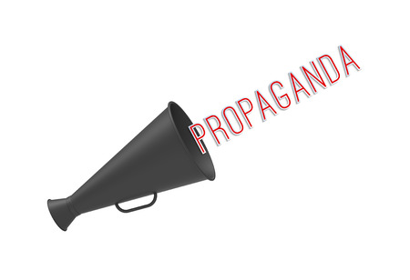 indoctrination: Megaphone on simple white background with pop-up caption Propaganda. Concept of call-for-action, aggressive promotion and mass media manipulations. Stock Photo