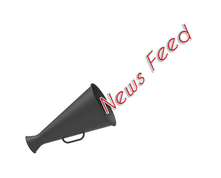 newsfeed: Megaphone on white background with pop-up caption News Feed Stock Photo