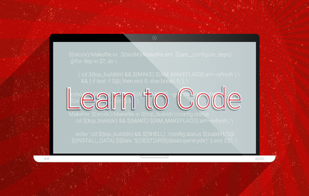 Concept for learn to code, e-learning and computer programming.