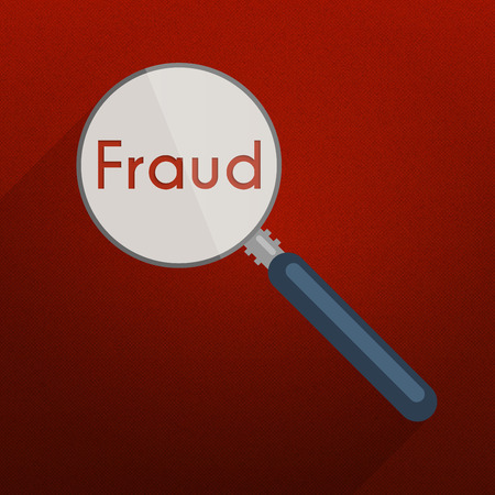 Concept of searching for evidence and clues for infringement, fraud or tax evasion. Flat design illustration with red background, magnifier and single word