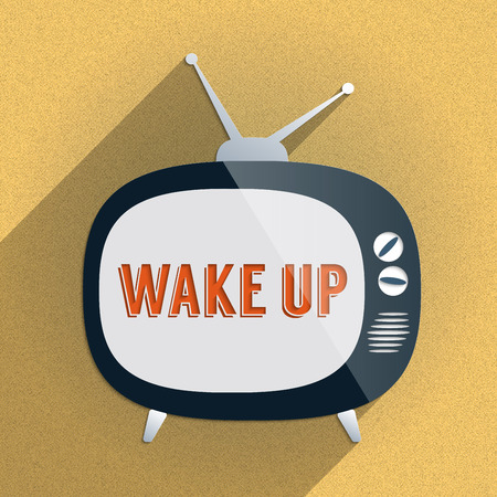 Flat design illustration with retro TV and the phrase Wake Up on the screen in soft sunny colors. Stock Photo