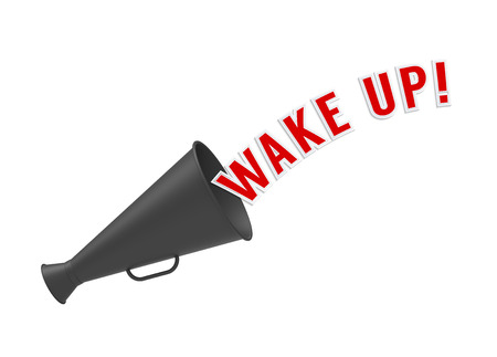 newsfeed: Megaphone on white background with pop-up caption Wake Up. Concept of alarm or call to rouse from sleep, inactivity, apathy or depression and get ready for action.