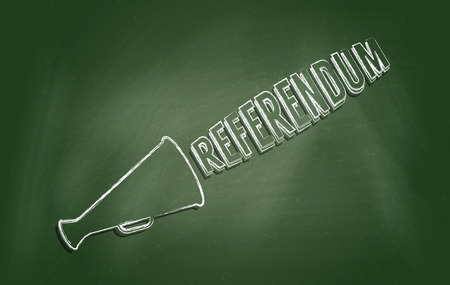 conducting: Chalkboard with text Referendum. Concept of conducting independence referendum or campaign for public consulting. Stock Photo