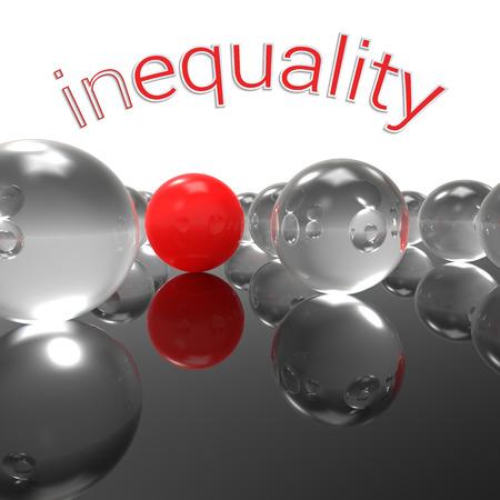 desigualdad: Resumen de la ilustraci�n tridimensional con una sola de m�rmol rojo contra un mont�n de bolas de cristal transparente y la desigualdad subt�tulo; concepto para un fuerte mensaje social sobre la discriminaci�n, la injusticia y el aislamiento. Foto de archivo