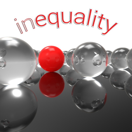 Three-dimensional abstract illustration with one sole red marble against a bunch of transparent glass balls and caption inequality; concept for strong social message about discrimination, injustice and isolation.