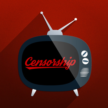Retro TV and the phrase Censorship on the screen. Concept for censor of inappropriate content, media blackout and repression of freedom of speech.