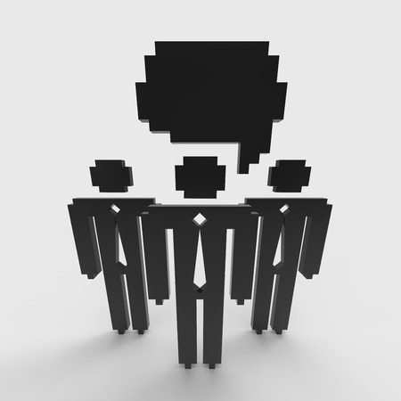 Small group of business individuals. Three-dimensional illustration in pixelated graphic style. Concept of parley between executives or entrepreneurs.