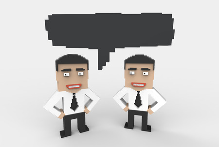 Concept of meeting, teamwork, brainstorming, industrial espionage, corporate culture. Three-dimensional illustration in pixelated graphic style.