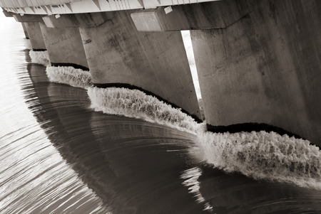 Black and white view from one side of the wall of famous Gariep Dam near Norvalspont in South Africa. Stock Photo
