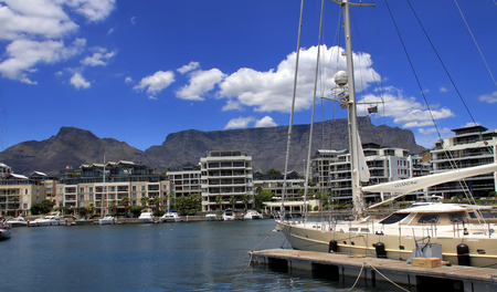 Cape Town, South Africa - December 17, 2010: View from the Victoria and Alfred Waterfront. In the distance notorious Table Mountain can be seen. Editorial