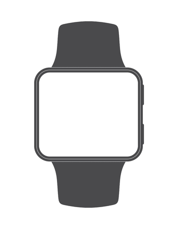 Black plain smartwatch with square screen shape and blank display for easily editing with desired graphic content Stock Photo