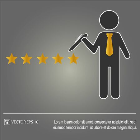 Five star rating. Businessman. Vector Illustration Categories: