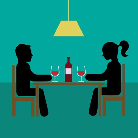 Romantic dinner date with wine vector illustration eps 10th Simple flat silhouette. Ilustração