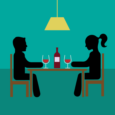 dinner date: Romantic dinner date with wine vector illustration eps 10th Simple flat silhouette. Illustration