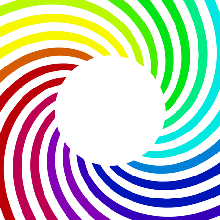 Abstract background with colorful rays. Circle frame. Rainbow spiral background.