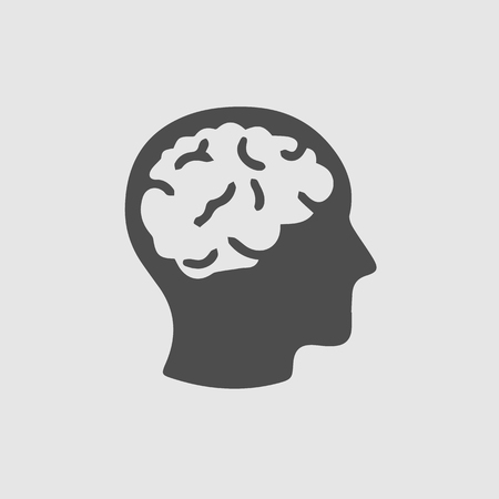 Head with brain vector icon eps 10th Simple isolated illustration.