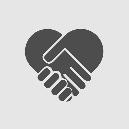 Handshake forming heart in hands. Which symbol. Love symbol.