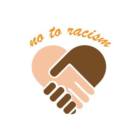 No to racism illustration. Discrimination symbol. Handshake forming heart sign. Vector Illustration