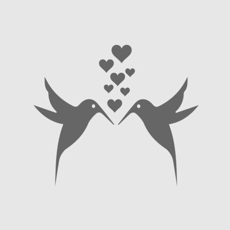 Two hummingbirds and hearts vector icon. Love symbol. Illustration