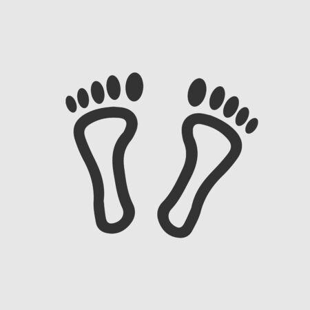 Feet vector icon. Footprint step simple isolated sign symbol. 向量圖像