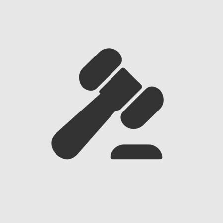 Law hammer vector icon. Auction symbol. Justice simple isolated sign logo.
