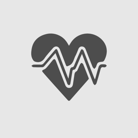 Heart vector icon with ecg heartbeat. Illustration